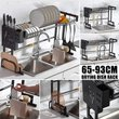 2type Stainless Steel Kitchen Shelf Organizer Dishes Drying Rack Over Sink Drain Rack Kitchen Storage Countertop Utensils Holder