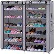 6Row 2Line 12 Lattices Nonwoven Fabric Shoe Rack Gray E5M1