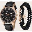 1pc Men Triple Dial Pointer Quartz Watch & 2pcs Bracelet