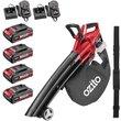Ozito PXCBLVS 36v Cordless Brushless Garden Vacuum and Leaf Blower (Uses 2 x 18v) 4 x 2ah Li-ion Twi