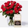 Rote Rosen Größe M 20 Stiele mit Mini Sachertorte Ich liebe Dich