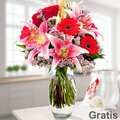 Blumenstrauß Karat mit Vase & Ferrero Yogurette