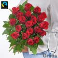 Rote Fairtrade Rosen gebunden