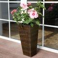 Outdoor-Rattan-Pflanzkübel mit Bewässerungssystem, konisch, 64x31x31 Zentimeter, kaffee braun