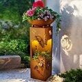 Pflanzsäule Butterfly, mit LED Beleuchtung, 70 Zentimeter, Ø 34 Zentimeter, rostbraun