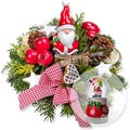 Santa Claus und Schneekugel
