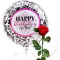 Ballon Happy Birthday Black and White und haltbare Rose