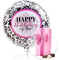 Ballon Happy Birthday Black and White und Belgische Pralinen