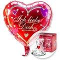 Ballon Ich liebe Dich und Glasbär mit Herz