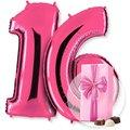 Riesenballon-Set Wunsch-Ziffern pink und Belgische Pralinen