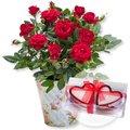 Rote Rose im romantischen Nostalgie-Topf und Herzkerzen in Geschenkpackung