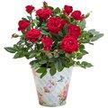 Rote Rose im romantischen Nostalgie-Topf