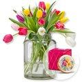 Zwanzig Tulpen, gemischt, und Schoko-Taler
