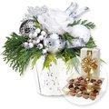 Adventsgesteck Silberglanz und Belgische Pralinen