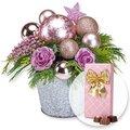Adventsgesteck Pink Dream und Belgische Pralinen-Auslese