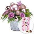 Adventsgesteck Pink Dream und Herz-Pralinen-Trio