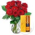 Red Romance und Champagner Veuve Clicquot