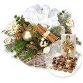 Adventsgesteck Amaryllis Gold und Belgische Pralinen