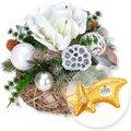 Adventsgesteck Amaryllis Silber und Ferrero Rocher Sternschnuppe