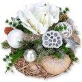 Adventsgesteck Amaryllis Silber