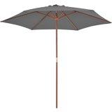 vidaXL Tuinparasol met houten paal 270 cm antraciet