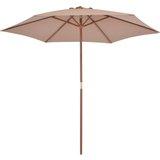 vidaXL Tuinparasol met houten paal 270 cm taupe