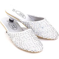 Lucy Locket Silver Size 34 Sequin Mules - Dolls Gifts