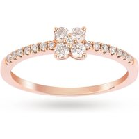 Brilliant Cut 0 30 Carat Total Weight Diamond Promise Engagement Ring in 9 Carat Rose Gold   Ring Si