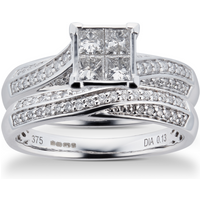Princess and Brilliant Cut 0 76 Carat Total Weight Diamond Bridal Set in 9 Carat White Gold
