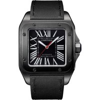 cartier santos 100 carbon watch, 51.1 x 41.3 mm