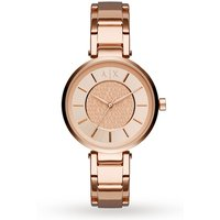 armani exchange ladies urban rose gold plated bracelet watch ax5317