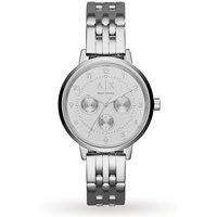 armani exchange ladies silver steel bracet watch