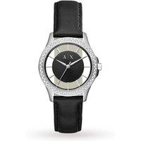 armani exchange ladies dress black leather strap watch