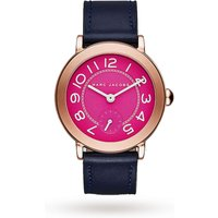 marc jacobs riley rose goldtone and navy leather threehand watch