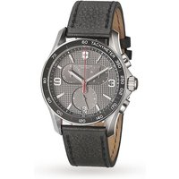 victorinox chrono classic slate grey dial black leather strap men