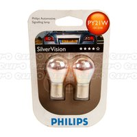 Philips Silver Vision Py21W Bulbs Twin Blister 581Sv