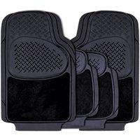 4 piece Rubber/Carpet Mat Set - Black