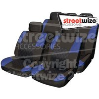Premium Polyester Combination Seat Cover Set with Leather Look Trim in