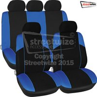 Polyester 11 pce Seat Cover Set with Zips in in Blue