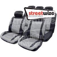 Nebraska -11 Pce Mesh Seat Cover Set with 5 Headrest Covers inBlack/ G