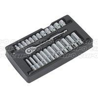 Ratchet Wrench & Socket Rail Set 3/8Sq Drive 25pc