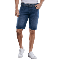 engbers Herren Shorts in authentischer Waschung blau straight uni