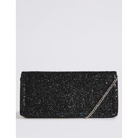 Faux Leather Elongated Clutch Bag anthracite