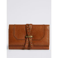Leather Pin Detailed Purse with Cardsafe™ dark tan