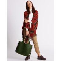 Faux Leather Tassel Shopper Bag green mix