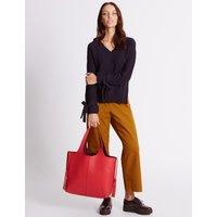 Faux Leather Tassel Shopper Bag orange mix