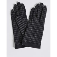 Houndstooth Gloves with Cuff navy mix