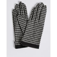 Houndstooth Gloves with Cuff black mix