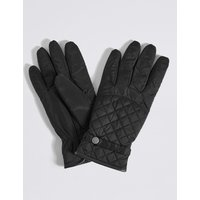 Faux Leather Quilted Popper Gloves black