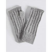 Diamanté Cable Knit Gloves grey